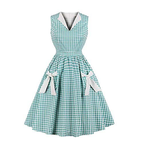Damen Revers V-Ausschnitt Plaid Pocket der 1940er Jahre 50er Jahre Retro Vintage Kleid Cocktail Party Swing Kleider (1940er Jahre Kostüm)