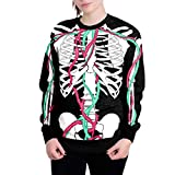 Halloween-Kostüm-Frauen Halloween Schädel 3D Druck Langarm Hoodie Sweatshirt Pullover Top Fasching Kostüm Sleepsuit Cosplay Fleece- Pyjama Erwachsene Unisex Lounge(Schwarz,M)