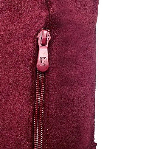 AgooLar Damen Hoher Absatz Hoch-Spitze Rein Reißverschluss Stiefel mit Metallisch Rot