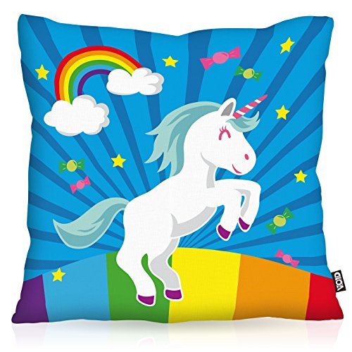 VOID Unicorn Candy Einhorn Kissenbezug Kissenhülle Outdoor Indoor Regenbogen , Kissen Größe:50 x 50 cm