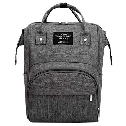 Mädchen Schultaschen Rucksack Schultasche Daypacks für Damen Mumienbeutel Windelflaschenbeutel Große Kapazität Babybeutel Reiserucksack Pflegetasche Dunkel grau ()