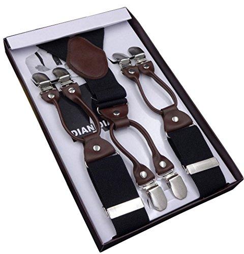 Herren-hosenträger (YaoDgFa Hosenträger für Herren breit extra starken 4 cm mit 6er Clips Y-Form lange für Männer und Damen Hose alle Farben)
