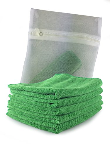 viridis-products-5-pack-of-green-car-outdoor-microfibre-cloths-complete-with-free-mesh-wash-bag-lint