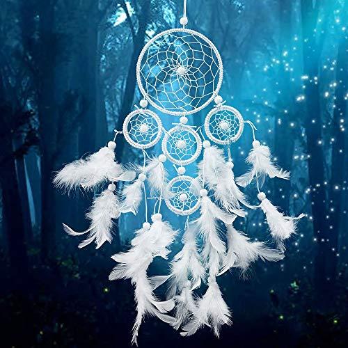 SUDADY-Home Atrapasueños Circular Blancas Plumas decoración de la Pared Las Ideas de Moda campanillas Colgante de Pared Perfecto Regalo de cumpleaños