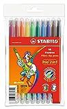 Filzstift und Fineliner in einem - STABILO Trio 2 in 1 - 10er Pack - mit 10 verschiedenen Farben