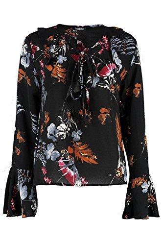Noir Femmes Chemise imprimée nouée au col à volants Kate Noir
