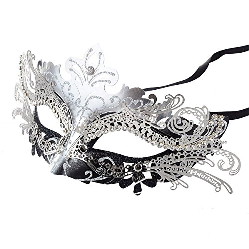 Frauen Laser Schnitt Metall Venetianische Maske Maskerade Clown Abend Abschlussball Maskenball Masken (Für Masken Maskerade Silber Abschlussball)