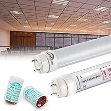 2Auralum® 2años de garantía 150cm 24W T8G13Tubo LED blanco neutro 4000~ 4500K 2835* 144led 2500LM con de rayas protectora Incluye LED Starter equivalente a 58W Tubo de gas, beige