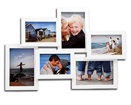 WOLTU BR9729 Bilderrahmen Bildergalerie fotogalerie, für 6 Bilder im 10x15cm Bildformat, Kunststoff Rahmen, Weiss