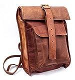 Retro Echt Leder Roll-In Rucksack | CeCee Bags Damen - Lederwaren für Frauen | Stylischer Vintage Wanderrucksack im Used-Look für Ipad, Macbook, Laptop (13