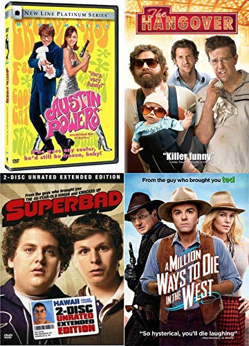 Wild + Crazy Hangover Comedy DVD Superbad (2 Disc Unrated Extended Edition), The Hangover + Austin Powers International Man Of Mystery + A Million Ways To Die In The West (4 Feature Films)