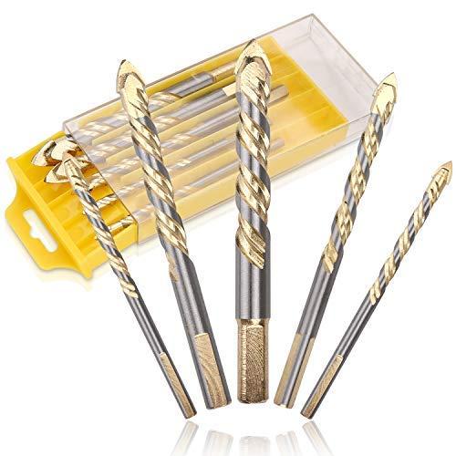 VOKIT Glasbohrer Fliesenbohrer Steinbohrer Set 6mm, 6mm,8mm, 10mm, 12mm für Fliesen, Beton, Ziegel, Glas, Kunststoff und Holz 5 Stück