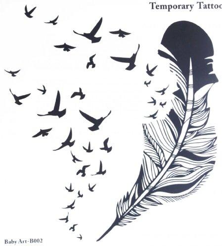 Spestyle nouvelle conception de vente chaude à la mode grande plume et de nombreux oiseaux stcker de tatouage temporaire