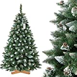 FairyTrees Árbol de Navidad Artificial Pino, Natural Blanco nevado, Material PVC, piñas verdaderas, Soporte de Madera, 180cm, FT04-180