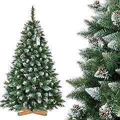 Idea Regalo - FairyTrees Albero di Natale Artificiale Pino, innevato Bianco Naturale, Materiale PVC, Vere pigne, incl. Supporto in Legno, 180cm