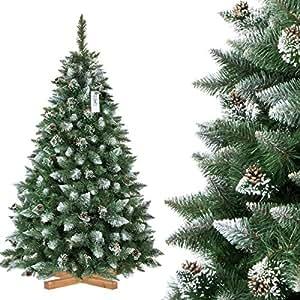 Alberi Di Natale Prezzi.Fairytrees Albero Di Natale Artificiale Pino Innevato Bianco Naturale Materiale Pvc Vere Pigne Incl Supporto In Legno 180cm
