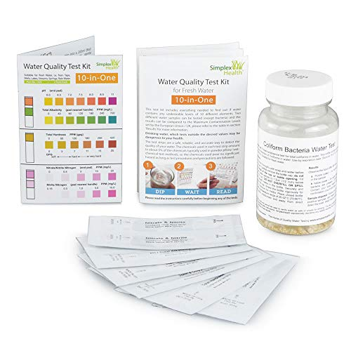 SimplexHealth Trinkwasser Wassertest (10 versch. Tests in 1): coliforme Bakterien, Nitrat, Nitrit, Gesamthärte (GH), pH, Kupfer (Cu+1/Cu+2), Eisen (Fe+2/Fe+3), Alkalinität, freies Chlor & Gesamtchlor.