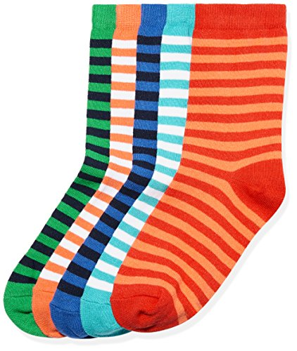 RED WAGON Jungen Socken mit Muster 5er Pack, Mehrfarbig (Multi Coloured), 30.5-35.5 (Muster Solide Baumwolle)