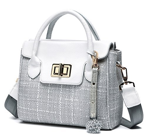 Office Handbags for Women Straw Canvas and Leather Crossbody Shoulder Bags  Purse Grey. by leashell e7cca4de4e