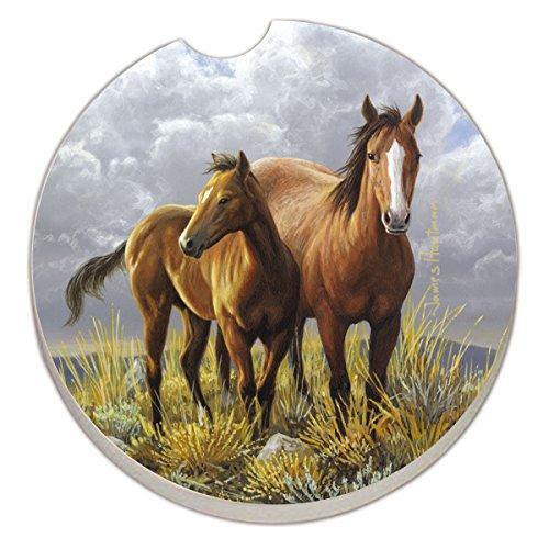 Counter Art Absorbent Stoneware Car Coaster, Horses by CounterArt - Car Coaster