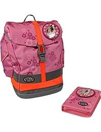 Preisvergleich für School-Mood Schulrucksack-Set Fly 4-tlg. Pink Flowers incl. Patchies Pink
