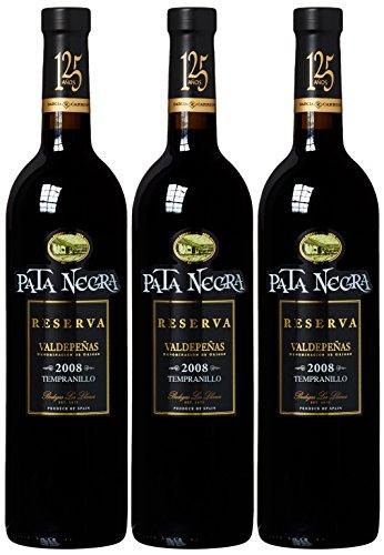 Vino Pata Negra - Vino Tinto, Botella Reserva, paquete de 3 Botellas (3x 0,75 L)