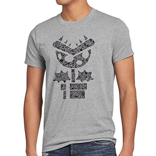 Mario Brothers T-shirt (A.N.T. Super Piranha Plant Herren T-Shirt Mario Topf-Pflanze Game Gamer Play, Größe:M;Farbe:Grau Meliert)