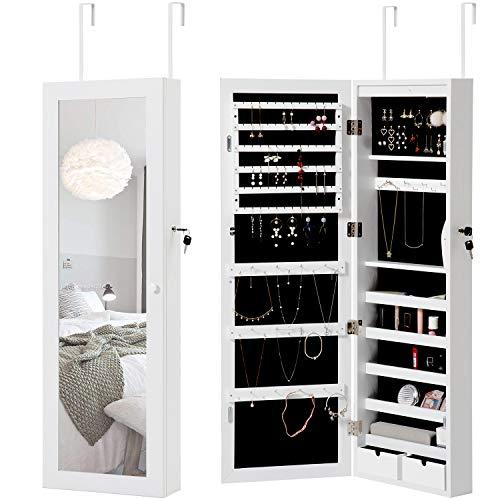Modern Luxe  ® Hängend Schmuckschrank mit LED Beleuchtung Schmuckregal Türspiegel-Schmuckschrank Abschließbarer Schrankzubehör Organizer für Ringe, Ohrringe, Halsketten, Armbänder, Broschen, Make-up -