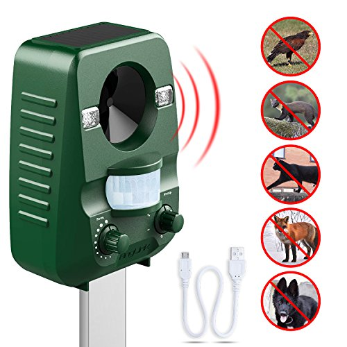 AngLink Repellente per Gatti, Ultrasuoni Solar Powered Dissuasori Gatti All'aperto Impermeabile Talpa...