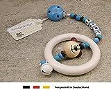Baby Kinderwagen Anhänger mit NAMEN | Kinderwagenkette mit Wunschnamen - Jungen Motiv Bär in natur, blau