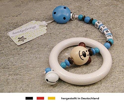kleinerStorch Baby Kinderwagen Anhänger mit NAMEN | Kinderwagenkette mit Wunschnamen - Jungen Motiv Bär in natur, blau