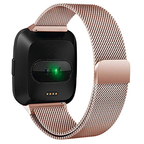 Takkar Armband für Fitbit Versa Lite/Fitbit Versa, Verstellbarer Metall Edelstahl Milanaise Ersatz Band für Fitbit Versa Lite - Bandlänge: 5.5-6.7inch - Weicher und bequemer