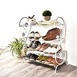 Schmiedeeisen Schuhe Rack Haushalt mehrschichtige Lagerung Schuhe Kabinett kleine Schuhe Regal Schlafsaal Bad Regal (Farbe : Weiß)
