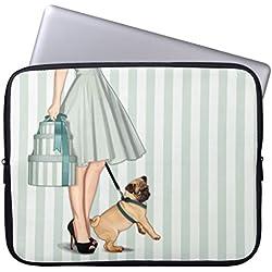 Funda de ordenador portátil 38,1 cm para portátil Macbook Air con diseño de pug