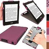 """igadgitz - Funda Eco-Piel para Kindle Paperwhite 6"""", función reposo/activación, correa de mano integrada, color violeta"""