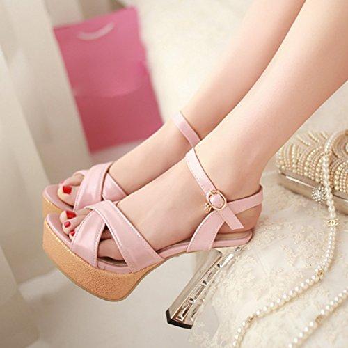Sandali Uh Blocca Piattaforma Elegante Morbido Alti Rosa Con Ed I Donne Aperta La Caviglia Tacchi Punta ggFwdqr