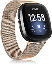 Rekletier Replacement Bands Compatible with Fitbit Versa 3 / Sense, Breathable Stainless Steel Loop Mesh Magne