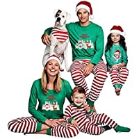 Navidad de BaZhaHei, Familia Pijamas Ropa de Dormir Juego de Navidad de Mujeres mamá Casual Santa Camisetas de Pantalones de Mujer Hombre Niño Conjunto de Pijamas caseros de Manga Larga Pantalón