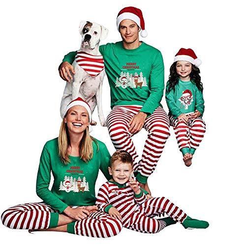 BaZhaHei Bambini,Natale Famiglia Genitore-Figlio, 2PCS Natale Bambini Padre, Madre Famiglia Cappello del Fumetto Manica Lunga Camicia Lettera Stampata Pantaloni Vestiti Pigiam