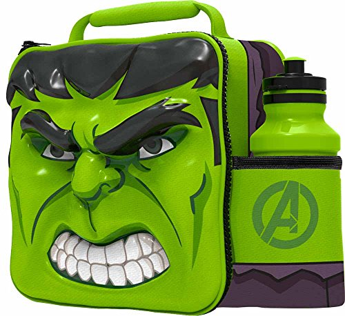 Image of Marvel Hulk 3D Thermal Lunch Bag with Sports Bottle