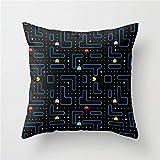 Funda de cojín para sofá con Pac-Man Retro Arcade Gaming Design, decoración del hogar, 45,7 x 45,7 cm