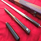 Handmade 3 piece Ash Snooker/Pool Cue with Case and Solid Mini-Butt