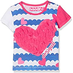 Desigual TS_Natalia, T-Shirt Bébé Fille, Blanc (Blanco 1000), 3-6 Mois (Taille Fabricant: 62 (6)