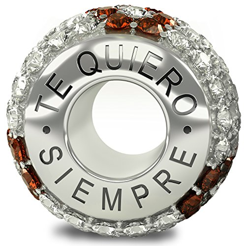 a414427e1b86 La Colección Real - Te Quiero Siempre 925 Plata de Ley Charm Abalorio  Cuenta con Cristales