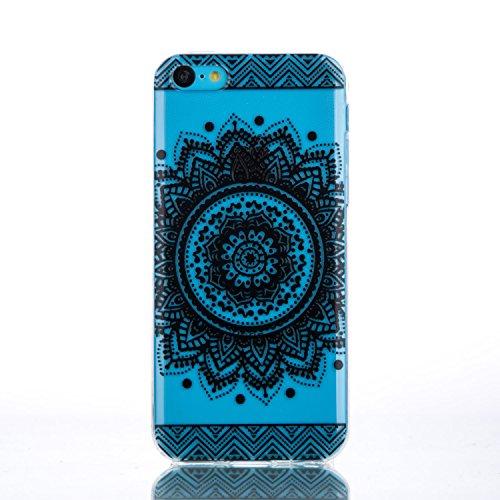 iPhone 5C Hülle, iPhone 5C Silikon Schutz Handy Hülle Kratzfeste Tasche Handyhülle TPU Gel Case Weiches Bumper Schutzhülle, SainCat Silikon Crystal Clear Case Durchsichtig Malerei Schwarz Muster Trans Blumenschale