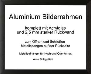Toronto stabiler und moderner Aluminium Bilderrahmen 100x107 cm 107x100 cm schwarz Alu gebürstet mit Rückwand und Antireflex-Acrylglas