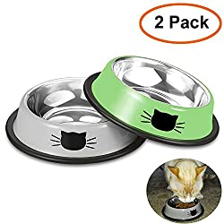 Comsmart Stainless Steel Pet Cat Bowl Puppy Dish Bowl with Cute Cats Painted Non-Skid for Small Dogs Cats (Green/Grey)