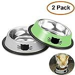 Comsmart Cat Bowl, Anti-slip Cat Food Bowl/Cat Feeding Bowl/Cat Water Bowl, Multi-purpose Double Pet Feeding Bowl (White… 8