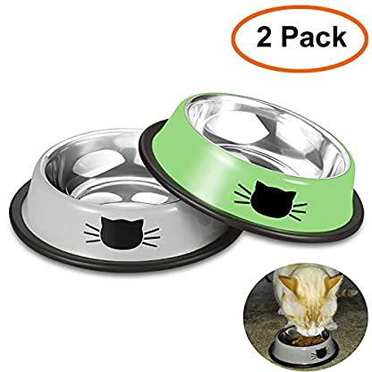 Comsmart Cat Bowl, Anti-slip Cat Food Bowl/Cat Feeding Bowl/Cat Water Bowl, Multi-purpose Double Pet Feeding Bowl (White… 1