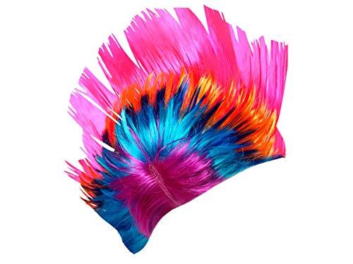 Alsino Irokesen Perücke Punk Iro bunt Karneval Fasching Rocker Irokese Haarschnitt (PI-007 pink bunt)
